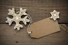 Banner with Copy Space and Ginger Bread Snowflake Royalty Free Stock Images