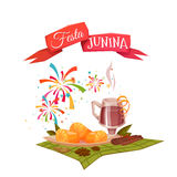 Banner with corn and quentao for Festa Junina Brazil party. Vector illustration Stock Photos