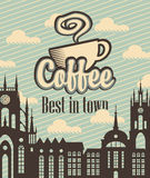 Banner with a cup of coffee Stock Photography