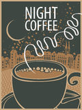 Banner with cup of coffee on background of town Royalty Free Stock Photos