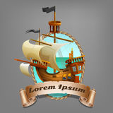 Banner of cute cartoon pirate ship. Royalty Free Stock Images