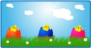 Banner with cute chickens. Vector illustration of banner with cute chickens Stock Photography