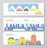Banner with cute city and town elements, funny design, graphic illustration Stock Photos