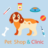 Banner with cute dog with pet medicine and stuff. Can be used for clinics or pet shops. Banner with cute dog with pet medicine and stuff. Can be used for Vector Illustration