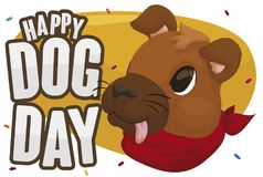 Doggy Face under Confetti Shower Celebrating Dog Day, Vector Illustration Royalty Free Stock Images