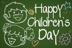 Kids in Drawing over a Blackboard for Children`s Day Celebration, Vector Illustration. Banner with a cute doodle drawings in a blackboard with a happy couple of Royalty Free Stock Photo