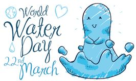 Cute Water Droplet and Doodles for World Water Day, Vector Illustration royalty free illustration
