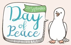 Cute Dove with Message in Speech Bubble for Peace Day, Vector Illustration Stock Photography