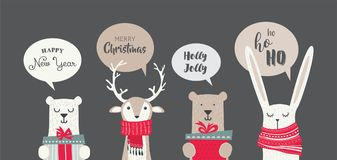Banner with cute winter animals with presents  Stock Photography
