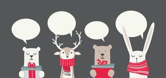 Banner with cute winter animals with presents and scarfs. merry christmas and happy new year Royalty Free Stock Images