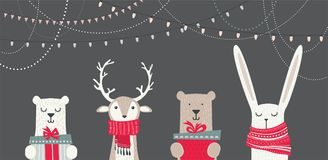 Banner with cute winter animals with presents and scarfs. merry christmas and happy new year Royalty Free Stock Photography