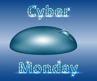 Banner of cyber monday sale. Wireless mouse and neon letters Royalty Free Stock Image