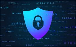 Banner cyber security data on the Internet. Vector illustration in a modern style Royalty Free Stock Photos