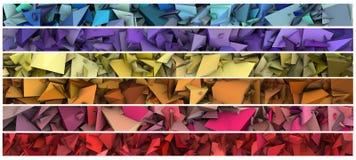 Banner 3d abstract modern beeldhouwwerk in heldere kleur Vector Illustratie