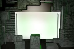 The banner on 3D technical background. Royalty Free Stock Photos
