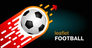 Banner on a dark background. The soccer ball flies up quickly. T. Emplate design with blank space for text for a leaflet or banner Royalty Free Stock Images