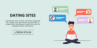 Banner for a dating site. Young man talking to the girls via service people search. Boy sitting with laptop. Vector Stock Image