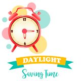 Banner for daylight saving time with alarm clock. Background for Daylight Saving Time with alarm clock vector illustration