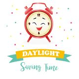 Banner for daylight saving time with alarm clock. Background for Daylight Saving Time with alarm clock royalty free illustration