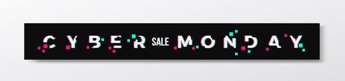 Banner of de Kopbal van de Cybermaandag de Modieuze Het moderne Concept van de Pixeltypografie met Glitch Effect Realistische sch royalty-vrije illustratie