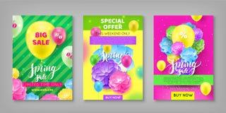 Banner, de korting van de de lenteverkoop, kleurrijke achtergrond vector illustratie