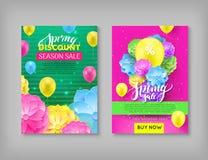 Banner, de korting van de de lenteverkoop, kleurrijke achtergrond royalty-vrije illustratie