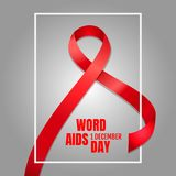 Banner, December 1, World AIDS Day. The concept of help and charity. Vector illustration. Banner, December 1, World AIDS Day. Red ribbon on a gray background Royalty Free Illustration