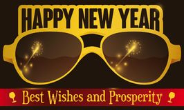 Party Glasses with Greeting Sign for New Year Celebration,. Banner with decoration over festive golden party glasses, greetings with wineglasses over red ribbon Royalty Free Stock Photos