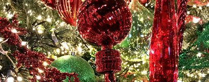Decorations, Christmas Holiday, Red and White Ornaments. Banner, Decorations, Christmas Holiday, Red and White Ornaments. The photo was taken at the North Pole stock photo