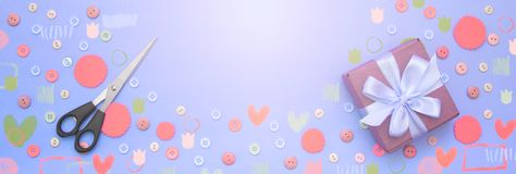 Banner Decorative background with colored buttons in bulk and gift box. Top view flat lay stock images