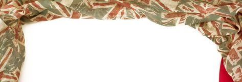 Banner Decorative draping frame of the textile. Women`s scarf red figure the British flag. White background top view Stock Image