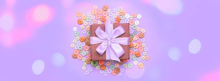 Banner Decorative gift box with a colored background. Top view Flat Lay Royalty Free Stock Photos