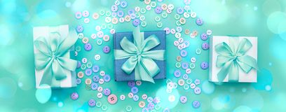 Banner Decorative gift box with a colored background. Top view Flat Lay Stock Photo