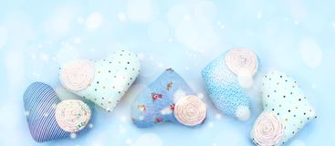 Banner Decorative textile heart handmade. Blue background View from above the Concept of Valentine`s day Flat lay Stock Photos