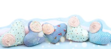 Banner decorative textile heart handmade. Blue background View from above the Concept of Valentine`s day Flat lay Stock Images