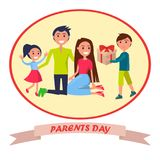 Banner Dedicated to Parents Day Depicting Family Stock Photos
