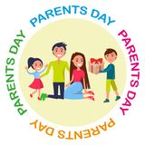 Banner Dedicated to Parents Day Depicting Family Stock Images