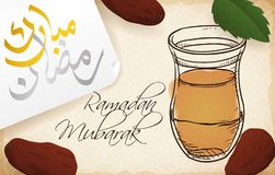 Arabic Tea, Spearmint Leaves and Dates for Iftar in Ramadan, Vector Illustration. Banner with delicious Arabic tea glass in hand drawn style, spearmint leaf Stock Photos