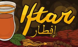 Evening Meal or Iftar with Masbaha for Ramadan Celebration, Vector Illustration. Banner with delicious meal with dates, Arabic tea and spearmint leaf to break Stock Photos