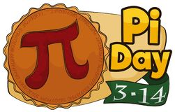 Delicious Pie with Sign and Ribbon for Pi Day Celebration, Vector Illustration. Banner with delicious pie with a sliced part in the interior like a pi symbol and royalty free illustration
