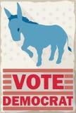Banner with Democrat Donkey over American Flag Propaganda, Vector Illustration Stock Photo