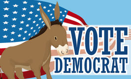 Banner with Democrat Donkey over American Flag Propaganda, Vector Illustration Royalty Free Stock Photography