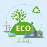 Banner protection of nature through the ecosystem. The concept of nature protection. Vector. A banner depicting the conservation of nature through an ecosystem stock illustration