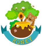 Banner design with bear and honey Royalty Free Stock Image