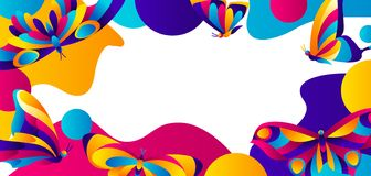 Banner design with butterflies. Colorful bright abstract insects royalty free illustration