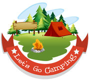 Banner design with camping theme Royalty Free Stock Photography