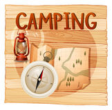 Banner design with camping theme Royalty Free Stock Photo