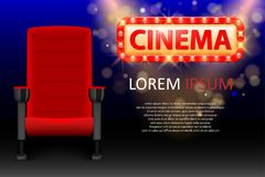 Banner design for the cinema. Realistic red comfortable cinema seats. Movie theater poster with rows and Lights. Vector. Illustration EPS 10 Stock Photos