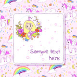 Banner design with with cute princess and space for text. Stock Photo