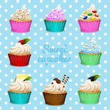Banner design with different flavor cupcakes Stock Images